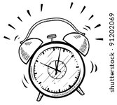 doodle style retro alarm clock... | Shutterstock .eps vector #91202069