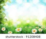 daisy field in the sunny summer ... | Shutterstock . vector #91208408