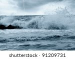 bad weather  over the sea - stock photo
