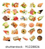 sushi and sushi roll | Shutterstock . vector #91228826