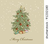 hand drawn christmas tree | Shutterstock . vector #91232180