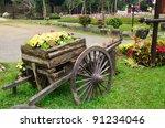 Old Wooden Cart Full Of Flower...