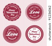set of vintage valentine's day... | Shutterstock .eps vector #91236062