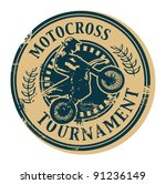 motocross tournament stamp ... | Shutterstock .eps vector #91236149