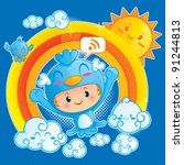 boy in blue bird costume | Shutterstock .eps vector #91244813