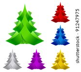 Raster version. Set of Abstract Paper Christmas Tree. Illustration on white background - stock photo