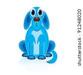 Raster version. Cartoon Blue Dog. Illustration on white background for design - stock photo