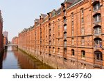 Speicherstadt in Hamburg, Germany is the world's largest timber-pile founded warehouse district of the world. - stock photo