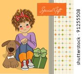 birthday greeting card with... | Shutterstock .eps vector #91255508