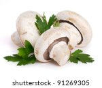 mushrooms with parsley isolated ... | Shutterstock . vector #91269305
