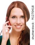 charming girl speaks by phone ... | Shutterstock . vector #91270418