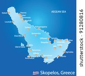 Island of Skopelos in Greece map on blue background - stock vector