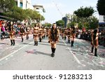 LIMASSOL,CYPRUS-MARCH 6, 2011: Unidentified women in amazonian costumes during the carnival parade, established in 16th century, influenced by Venetian traditions. - stock photo