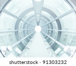 futuristic tunnel of steel and... | Shutterstock . vector #91303232