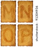 old paper Alphabet - stock photo