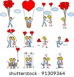 valentine doodle boy and girl ... | Shutterstock .eps vector #91309364
