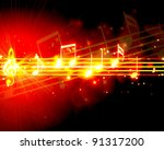 burning musical symbols on a... | Shutterstock . vector #91317200