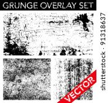 Stock vector vector grunge overlay set simply place texture over any object to create distressed effect 91318637