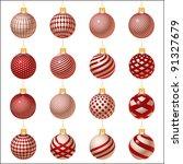 red set of christmas balls... | Shutterstock . vector #91327679