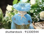 bottle with oil decorated with... | Shutterstock . vector #91330544
