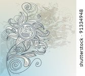 decorative floral ornamental... | Shutterstock .eps vector #91334948
