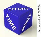 Effort Time Money Blue Dice...
