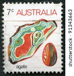 AUSTRALIA - CIRCA 1973: A stamp printed in Australia shows agate, series, circa 1973 - stock photo