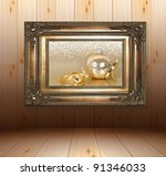 wooden interior with golden... | Shutterstock . vector #91346033