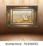 wooden interior with golden... | Shutterstock . vector #91346033