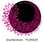 pink flowers with black circle | Shutterstock .eps vector #9134635
