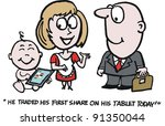 vector cartoon of family group... | Shutterstock .eps vector #91350044