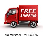 3d red van with free shipping...   Shutterstock . vector #91353176