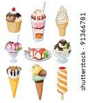 set of tasty ice cream isolated ... | Shutterstock .eps vector #91366781