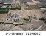 Aerial view of Waste Water Treatment Plant - stock photo