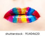 Glamour Color gloss lips, shallow focus - stock photo