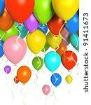 colourfull balloons 3d   Shutterstock . vector #91411673
