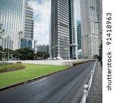 modern street scene of shanghai ...   Shutterstock . vector #91418963