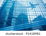 the aircraft reflected in the...   Shutterstock . vector #91418981