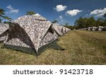 Many Tent On Grass Under Blue...