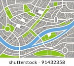 abstract city map illustration | Shutterstock .eps vector #91432358