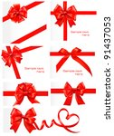 big set of red gift bows with... | Shutterstock .eps vector #91437053