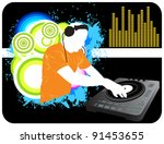 dj mixing background | Shutterstock . vector #91453655