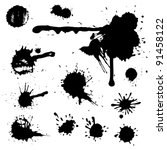 ink blot collection isolated on ... | Shutterstock .eps vector #91458122