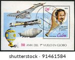 CUBA - CIRCA 1983: A post stamp printed in Cuba devoted Bicentenary of the 1st Manned Balloon Flight, series, circa 1983 - stock photo