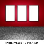 white frame an red wall - stock photo