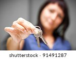 realtor is giving the keys to... | Shutterstock . vector #91491287