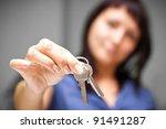 realtor is giving the keys to... | Shutterstock . vector #91491287