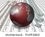 Earth and a group of arrows going both ways with a binary code in the background / Digital world - stock photo