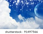 Peaceful background - planet Earth in blue sky with white clouds - stock photo