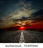 long country road with white... | Shutterstock . vector #91499060